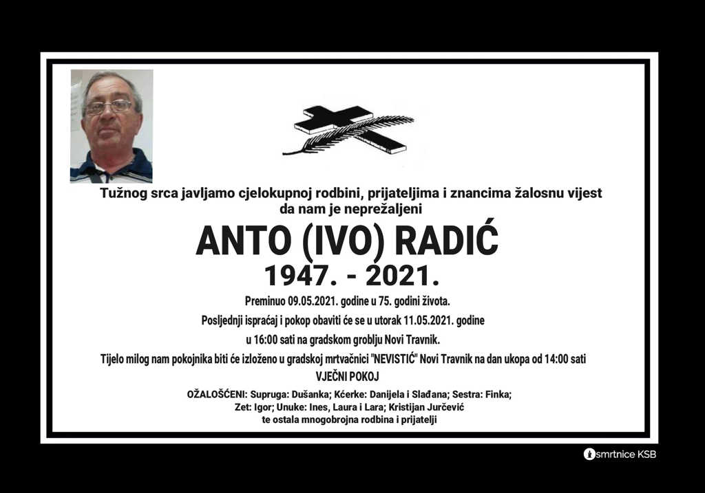 Preminuo Anto Radić