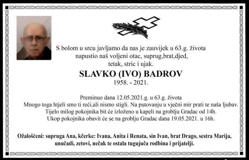 Preminuo Slavko Badrov