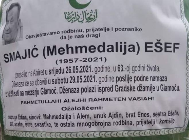 Preminuo Ešef Smajić