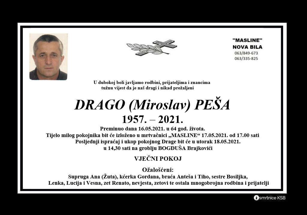 Preminuo Drago Peša
