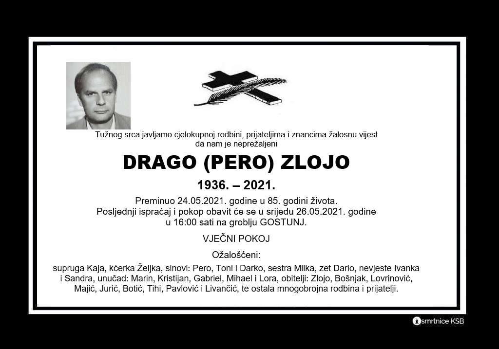 Preminuo Drago Zlojo