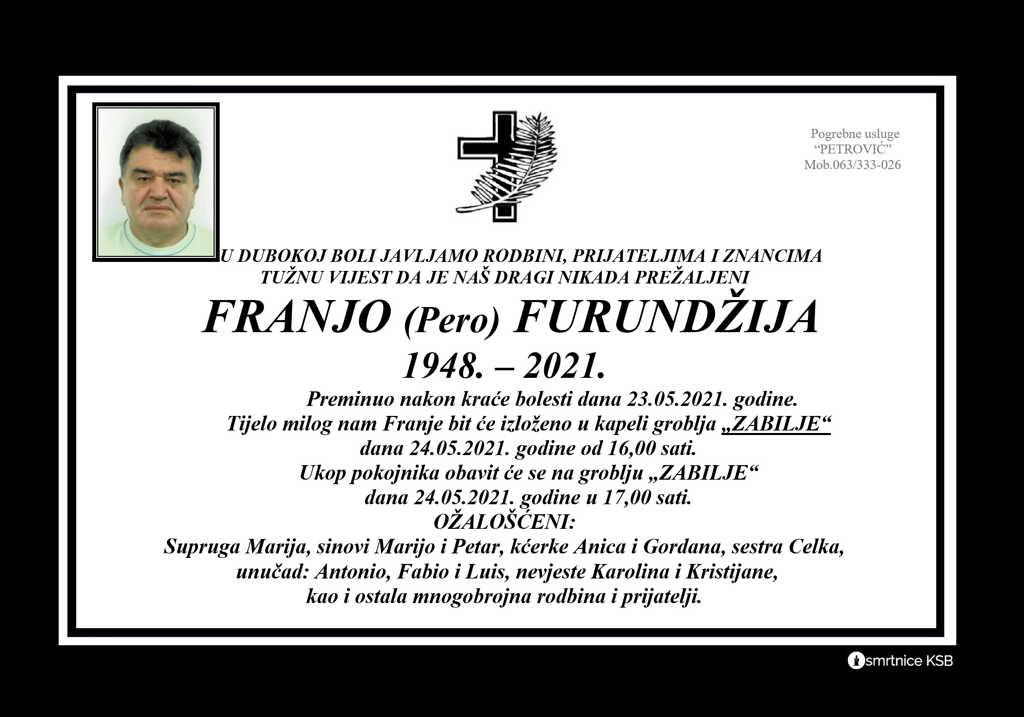 Preminuo Franjo Furundžija