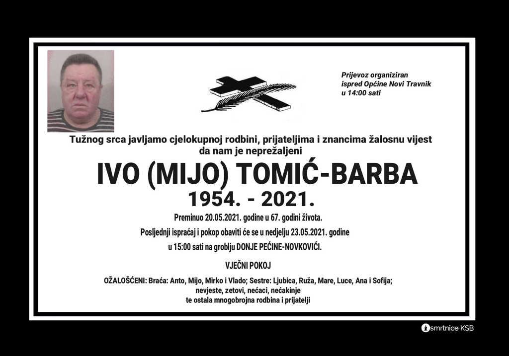 Preminuo Ivo Tomić-Barba
