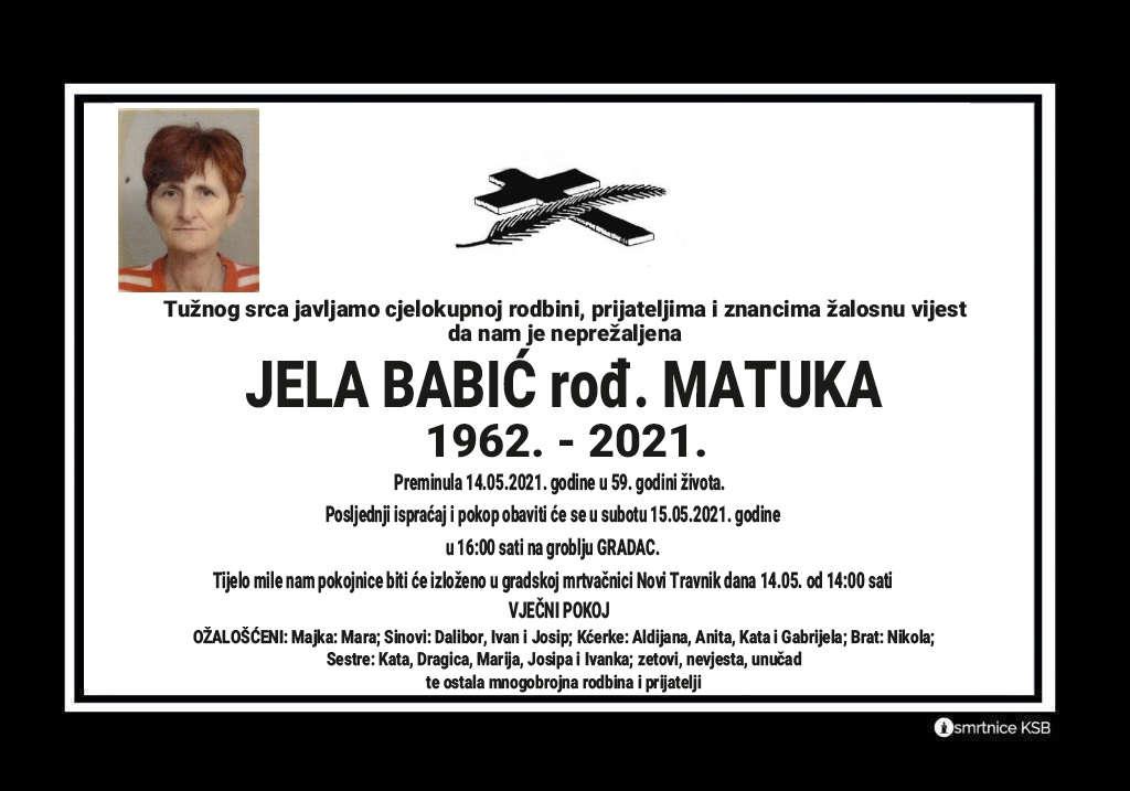 Preminula Jela Babić