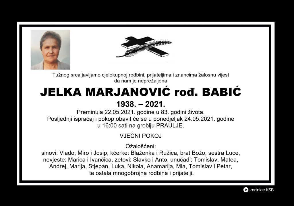 Preminula Jelka Marjanović