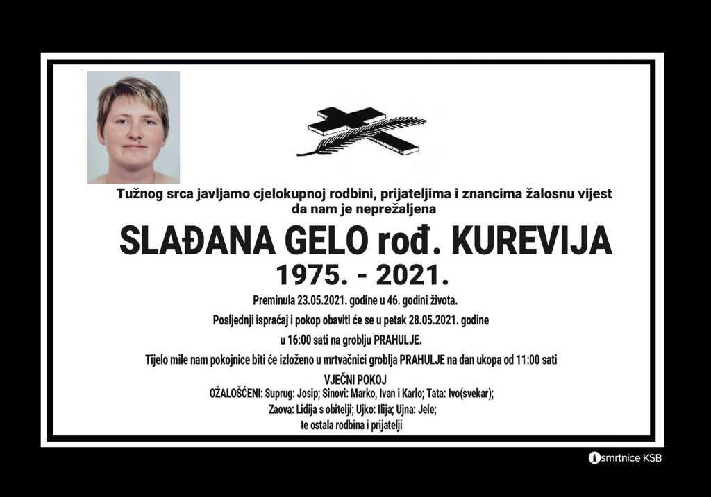 Preminula Slađana Gelo
