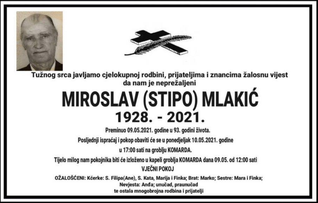 Preminuo Miroslav Mlakić