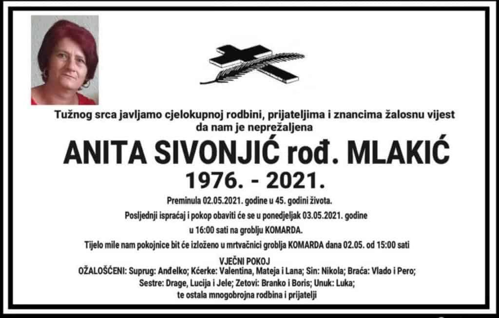 Preminula Anita Sivonjić
