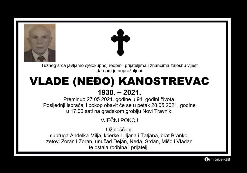 Preminuo Neđo Kanostrevac