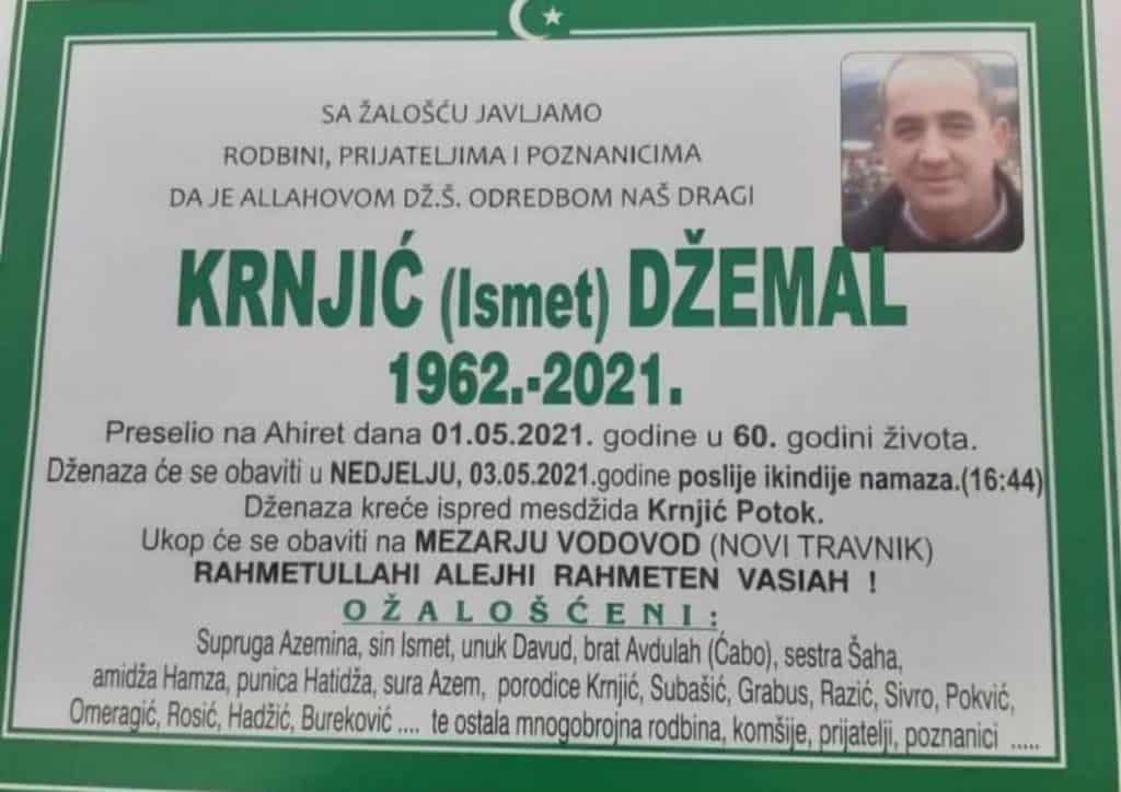 Preminuo je Džemal Krnjić