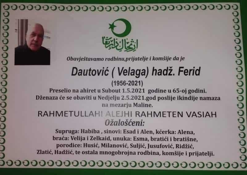 Preminuo je Ferid hadž. Dautović