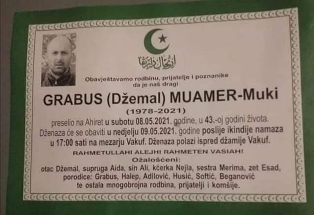Preminuo je Grabus Muamer - Miki