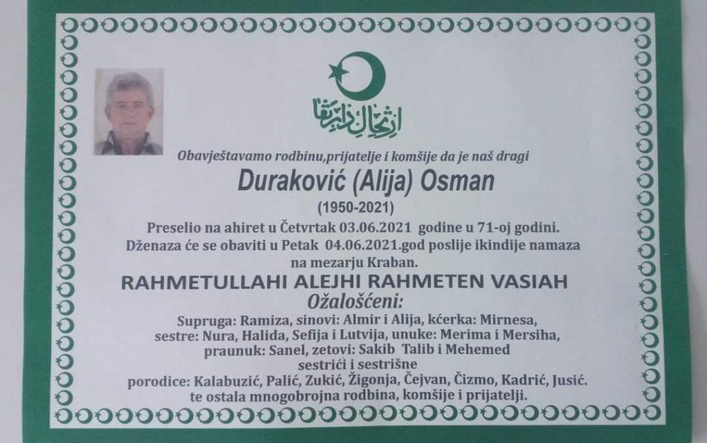 Preminuo Osman Duraković