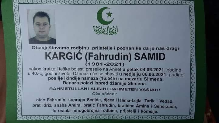 Preminuo Samid Kargić