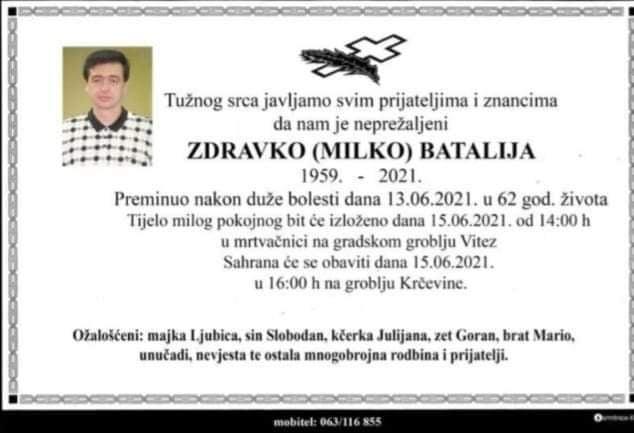 Preminuo Zdravko Batalija