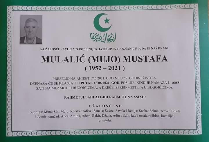 Preminuo Mustafa Mulalić
