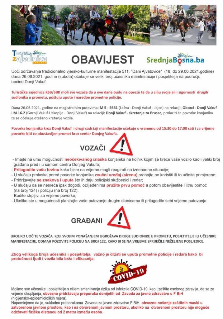 """TZ SBK/ Obavijest vozačima o održavanju tradicionalno vjersko-kulturne manifestacije 511. """"Dani Ajvatovice"""""""