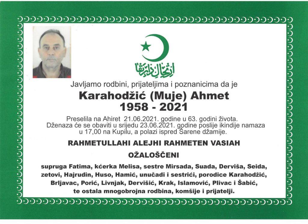 Preminuo Ahmet Karahodžić