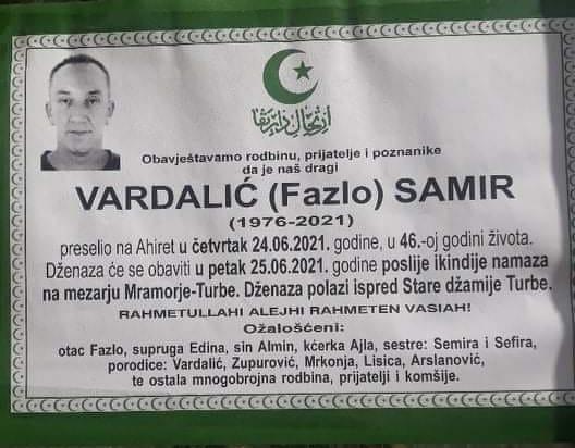 Preminuo Samir Vardalić