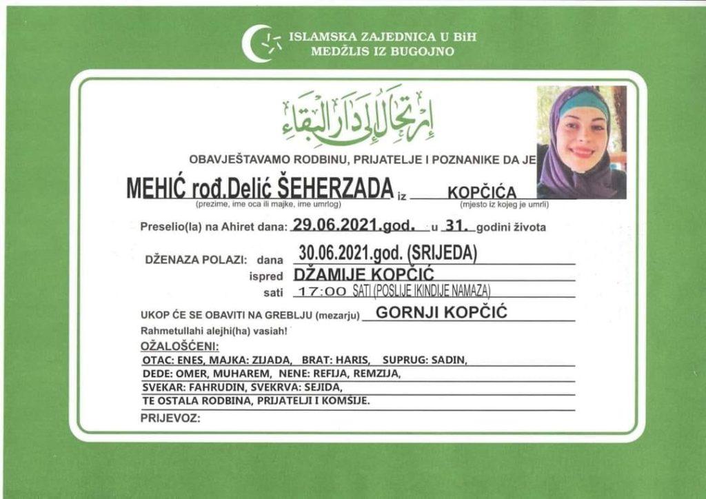 U 31. godini života preminula Šeherzada Mehić rođ. Delić