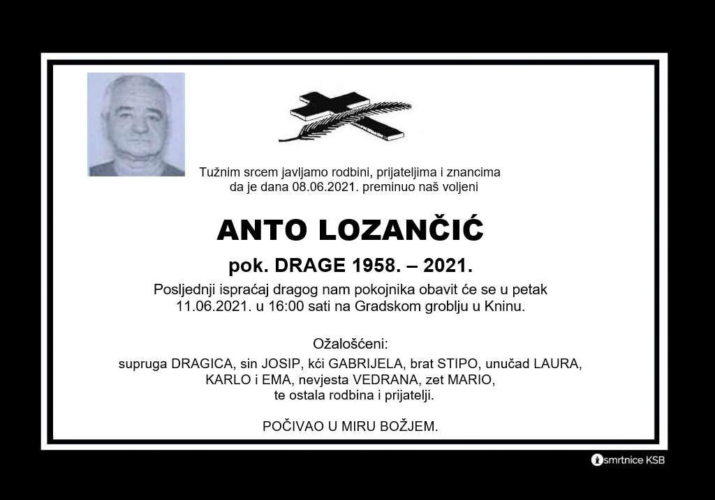 Preminuo Anto Lozančić