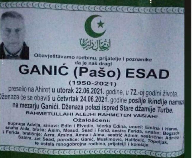 Preminuo Esad Ganić