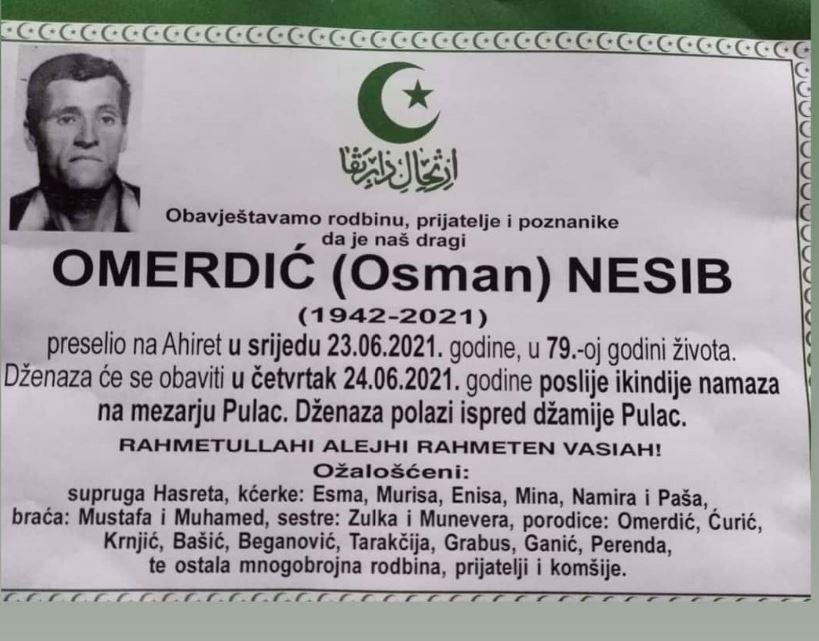 Preminuo Nesib Omerdić