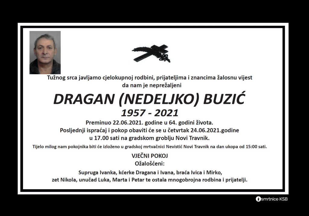 Preminuo Dragan Buzić