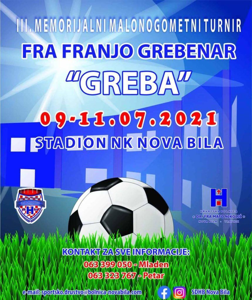 Od 09. do 11. jula u Novoj Biloj/ 11. Memorijalni nogometni turnin Fra Franjo Grebenar - GREBA
