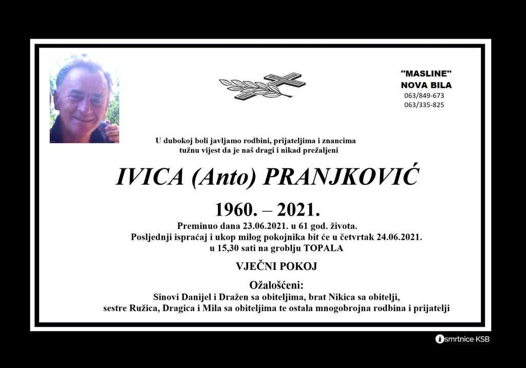 Preminuo Ivica Pranjković