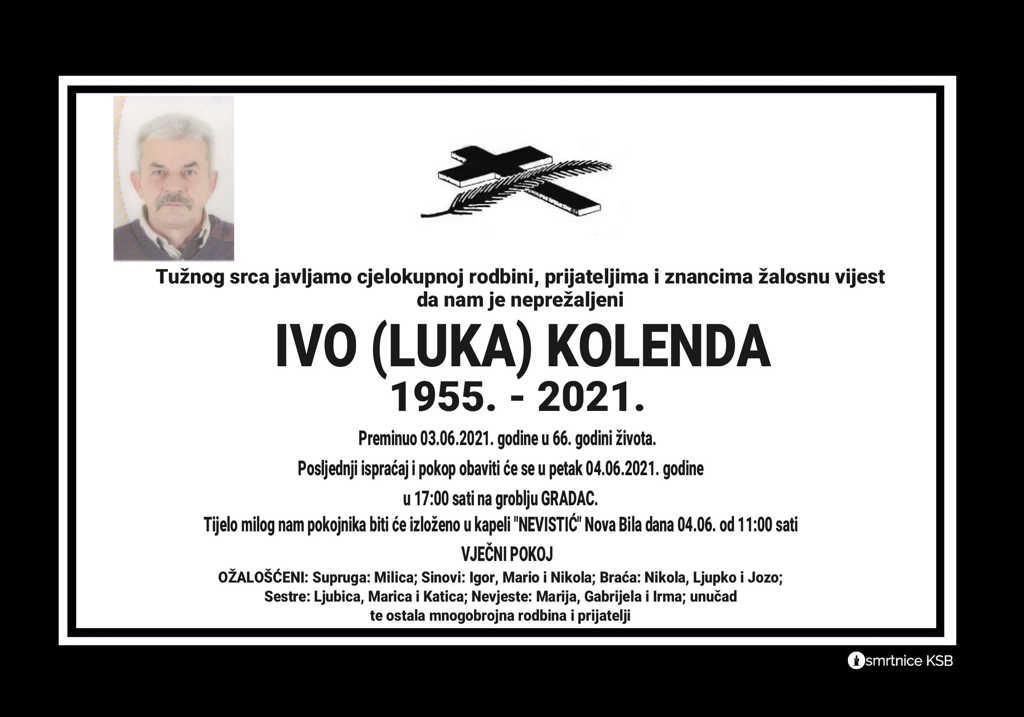 Preminuo Ivo Kolenda