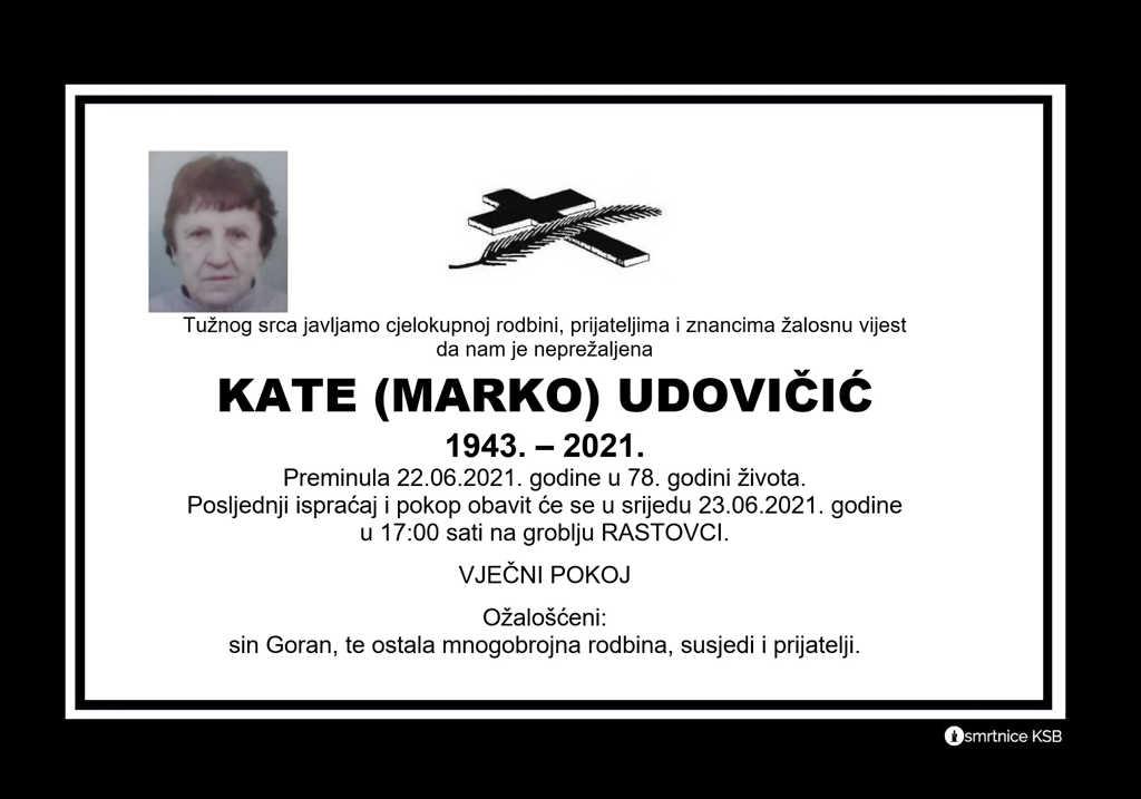 Preminula Kate Udovičić