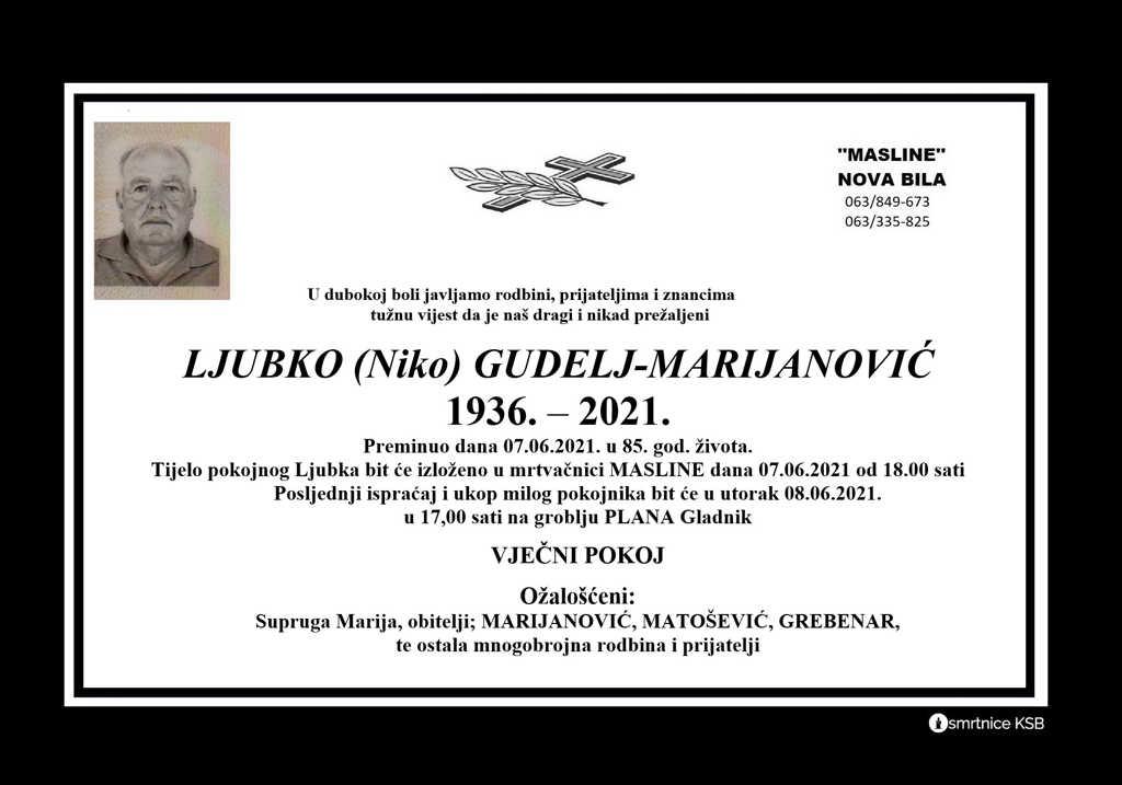 Preminuo Ljubko Gudelj-Marijanović