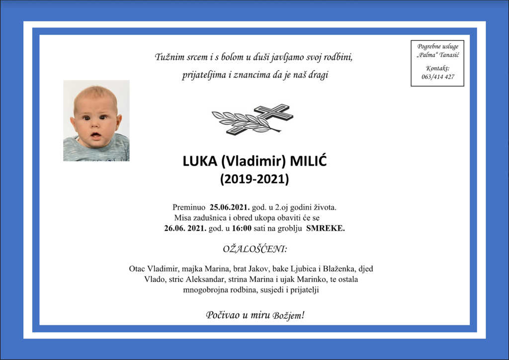 Preminuo Luka Milić