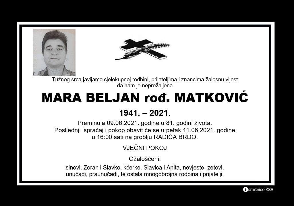 Preminula Mara Beljan
