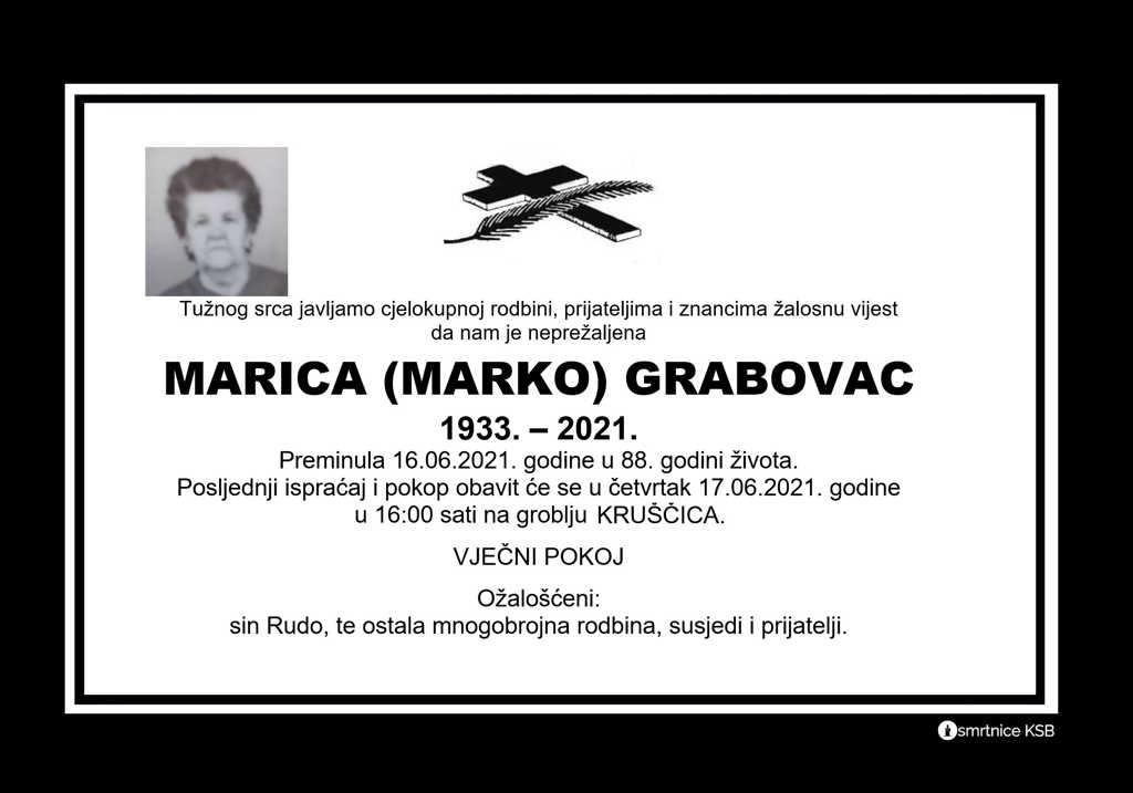 Preminula Marica Grabovac