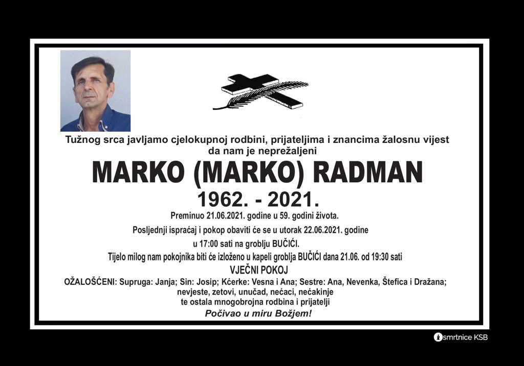 Preminuo Marko Radman