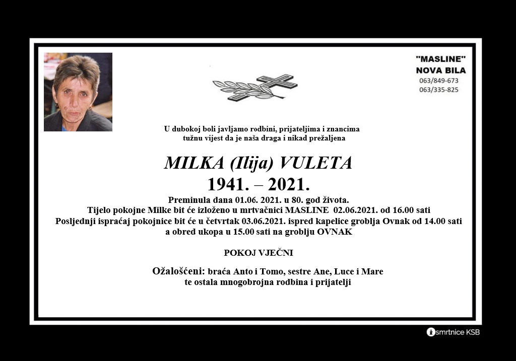 Preminula Milka Vuleta