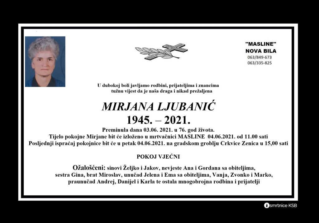 Preminula Mirjana Ljubanić