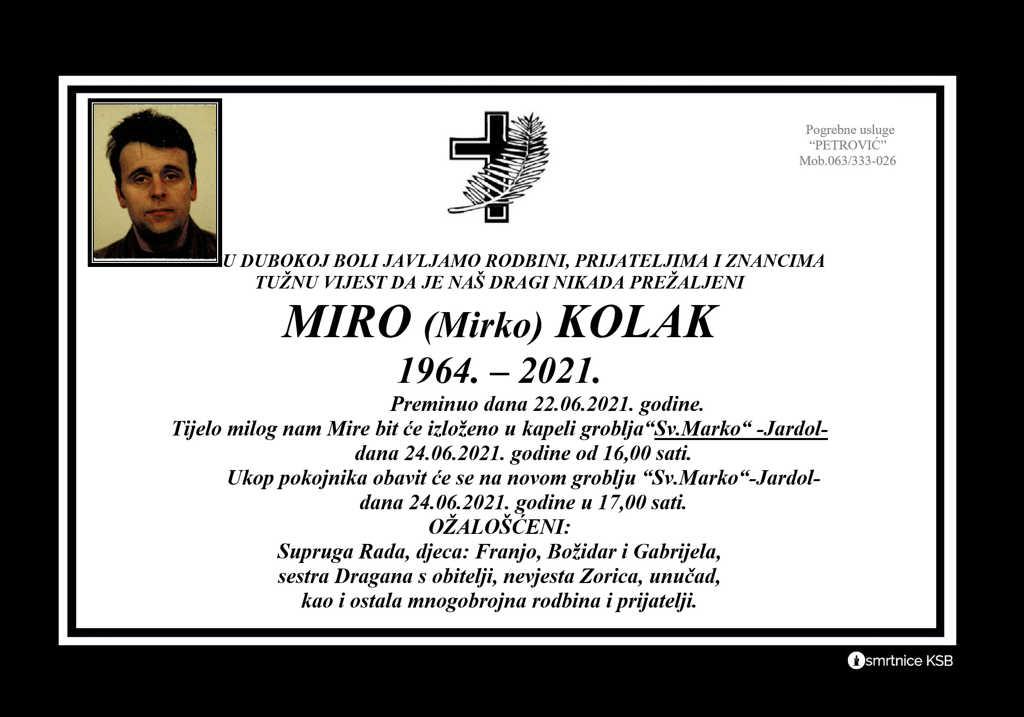 Preminuo Miro Kolak