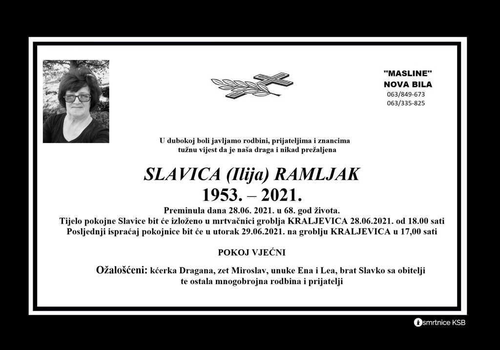 Preminula Slavica Ramljak