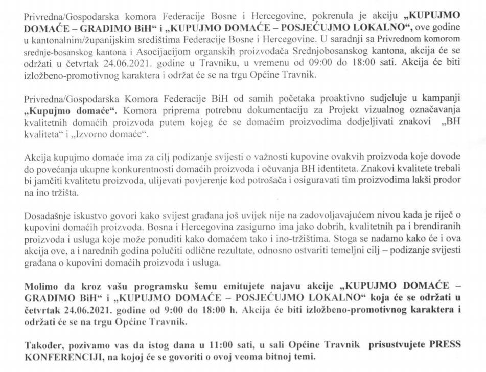 """Travnik/ U četvrtak akcija """"KUPUJMO DOMAĆE-GRADIMO BIH"""" i """"KUPUJMO DOMAĆE-POSJEĆUJMO LOKALNO"""""""