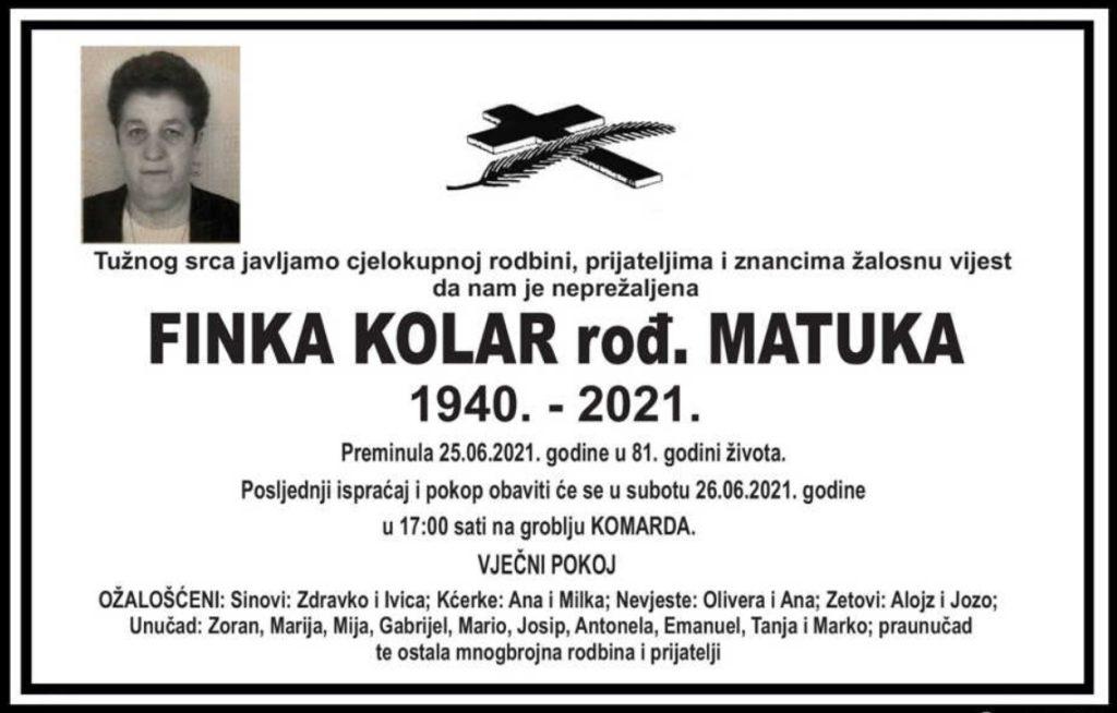 Preminula Finka Kolar