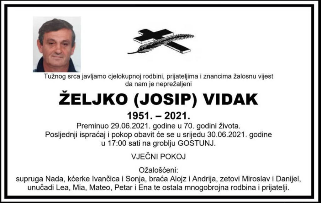 Preminuo Željko Vidak