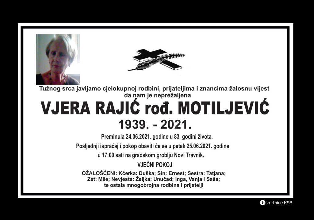 Preminula Vjera Rajić