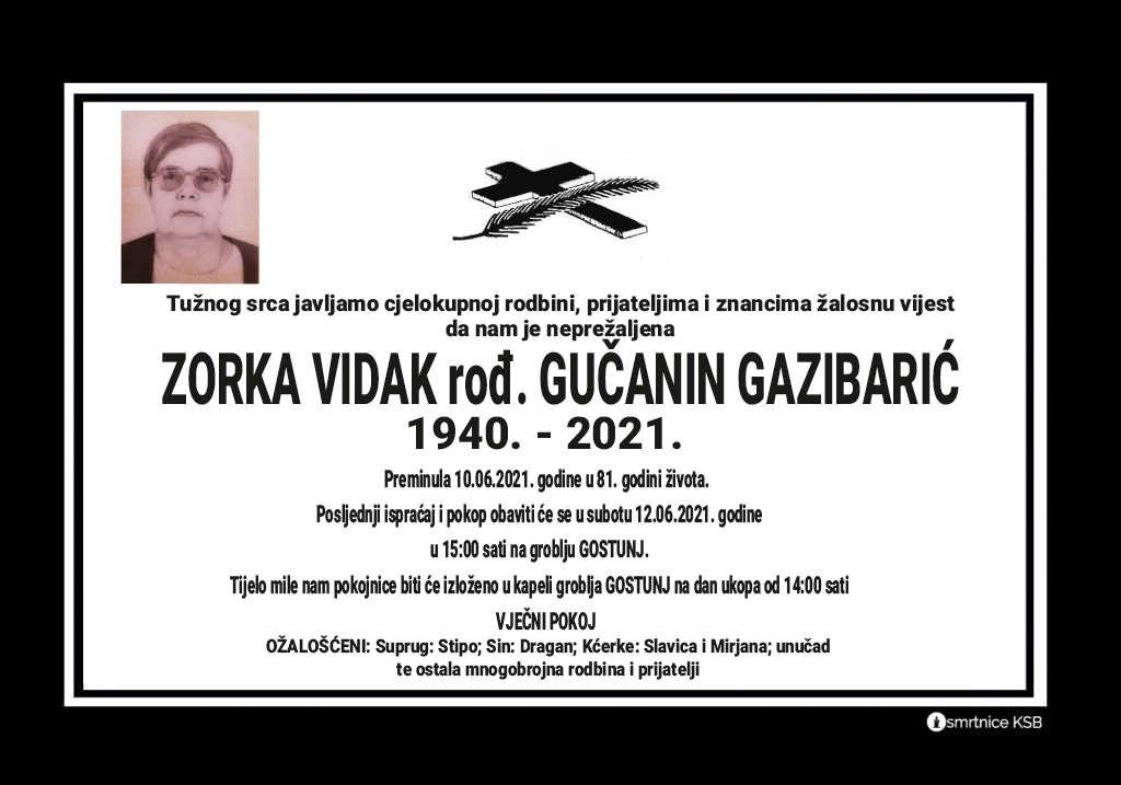Preminula Zorka Vidak