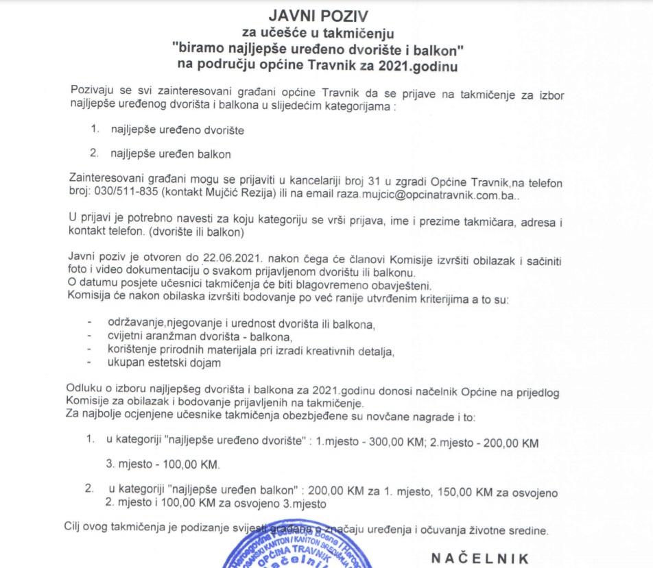 Općina Travnik/ Javni poziv za učešće u izboru najuređenijeg dvorišta i balkona