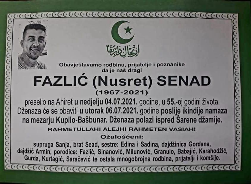 Preminuo Senad Fazlić