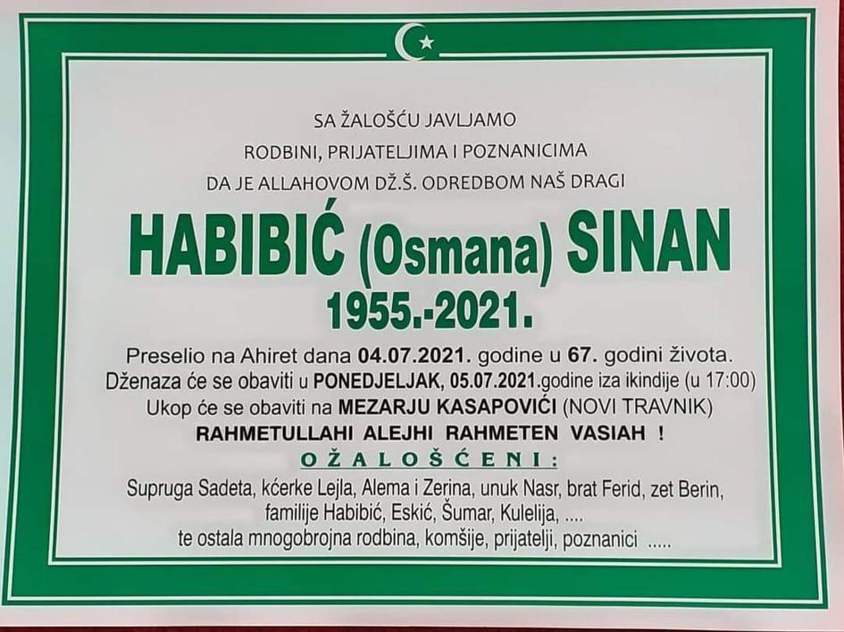 Preminuo Sinan Habibić
