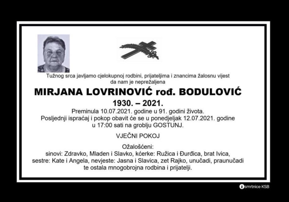 Preminula Mirjana Lovrinović